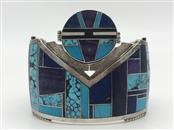 """AP"" Handmade Intarsia Silver Bracelet, 106.7g"